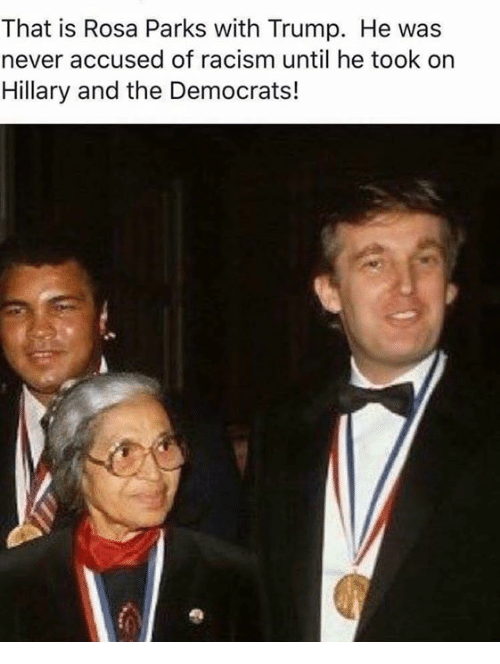 Memes, Racism, and Rosa Parks: That is Rosa Parks with Trump. He was  never accused of racism until he took on  Hillary and the Democrats!