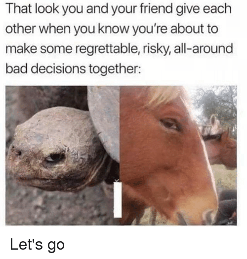 Bad, Memes, and Regrettable: That look you and your friend give each  other when you know you're about to  make some regrettable, risky, all-around  bad decisions together: Let's go