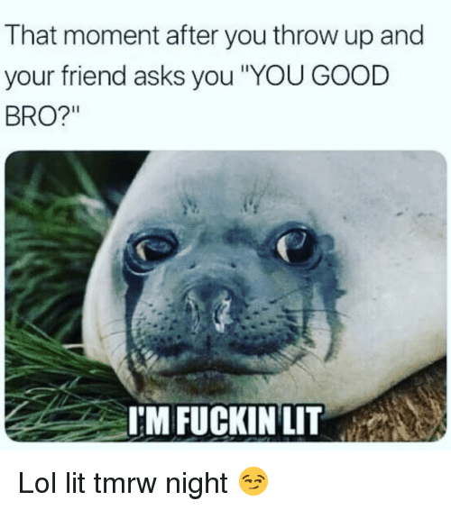"Funny, Lit, and Lol: That moment after you throw up and  your friend asks you YOU GOOD  BRO?""  I'M FUCKINLIT Lol lit tmrw night 😏"