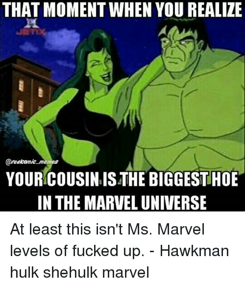 Hoe, Memes, and Hulk: THAT MOMENT WHEN YOU REALIZE  areakomic memes  YOUR COUSIN IS THE BIGGEST HOE  IN THE MARVEL UNIVERSE At least this isn't Ms. Marvel levels of fucked up. - Hawkman hulk shehulk marvel