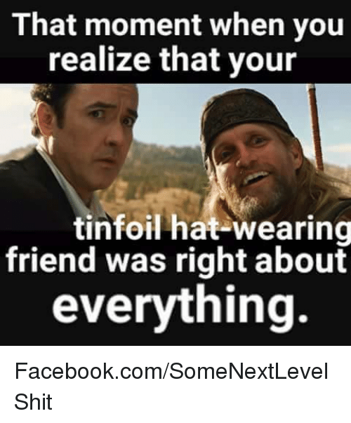 That Moment When You Realize That Your Tinfoil Hat-Wearing ...