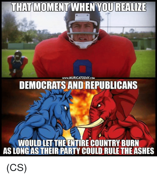 Memes, Party, and 🤖: THAT MOMENT WHEN YOU REALIZE  www.MURICATODAY.CO  DEMOCRATS AND REPUBLICANS  WOULD LET THE ENTIRE COUNTRY BURN  AS LONG AS THEIR PARTY COULD RULE THE ASHES (CS)
