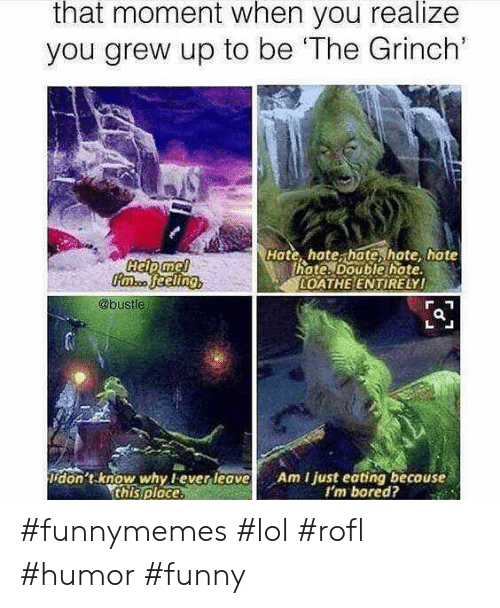 Bored, Funny, and The Grinch: that moment when you realize  you grew up to be 'The Grinch'  Hate, hate, hate, hate hate  hote. Double hate  OATHE ENTIRELY!  @bustle  don't know why lever leave  this ploce.  Am I just eating because  I'm bored? #funnymemes #lol #rofl #humor #funny