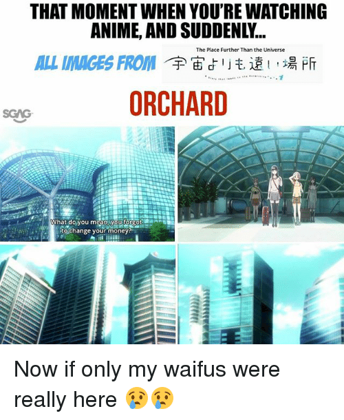 Anime, Memes, and Money: THAT MOMENT WHEN YOU'RE WATCHING  ANIME, AND SUDDENLY...  ALL IMAGES FROM'宇宙よリも遠い場所  ORCHARD  The Place Further Than the Universe  SGAG  What do you mean  tyou forpot  to change your money Now if only my waifus were really here 😢😢