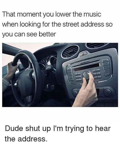 Dude, Memes, and Music: That moment you lower the music  when looking for the street address so  you can see better Dude shut up I'm trying to hear the address.