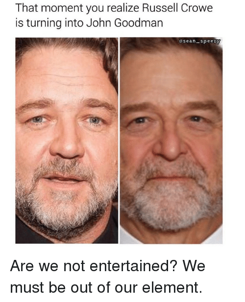 Funny, Russell Crowe, and John Goodman: That moment you realize Russell Crowe  is turning into John Goodman  Sean-speezy Are we not entertained? We must be out of our element.
