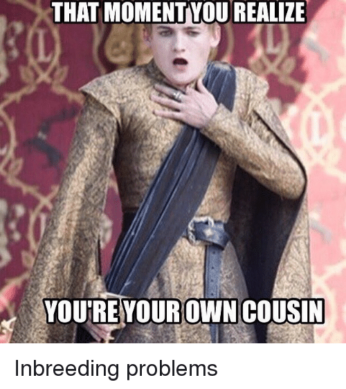Game of Thrones, Owned, and Yours: THAT MOMENT YOUREALIZE  YOU'RE YOUR OWN COUSIN Inbreeding problems