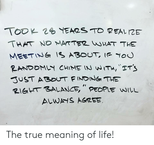 """Life, True, and Meaning: THAT ND ATTER HAT THE  MEETINIs ABOUT Iou  RIGHT BALANCE """", PEDPlE WILL  ALW AGREE The true meaning of life!"""