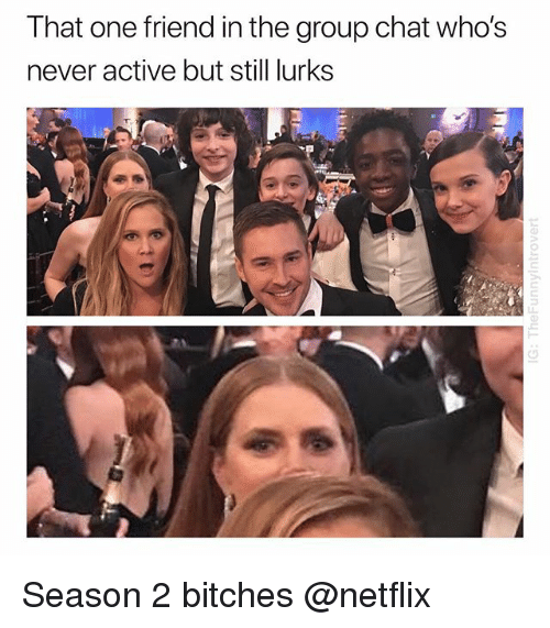 Group Chat, Netflix, and Chat: That  one  friend  in  the  group  chat  who's  never active but still lurks Season 2 bitches @netflix
