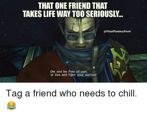that one friend that takeslife way tooseriously final fantasy facts 10451105 ✅ 25 best memes about final fantasy final fantasy memes