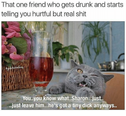Drunk, Shit, and Dick: That one friend who gets drunk and starts  telling you hurtful but real shit  You.you know what.. Sharon..just.  just leave him..he's got a tiny dick anyways..