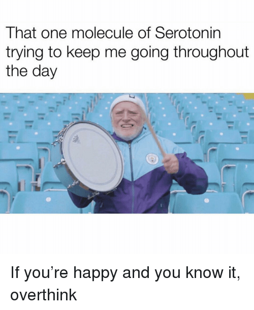 Happy, Girl Memes, and Serotonin: That one molecule of Serotonin  trying to keep me going throughout  the day If you're happy and you know it, overthink
