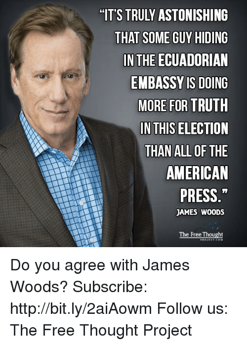 Memes, American, and Free: THAT SOME GUY HIDING  IN THE ECUADORIAN  EMBASSY IS DOING  MORE FOR TRUTH  IN THIS ELECTION  THAN ALL OF THE  AMERICAN  PRESS  JAMES WOODS  The Free Thought Do you agree with James Woods?  Subscribe: http://bit.ly/2aiAowm Follow us: The Free Thought Project