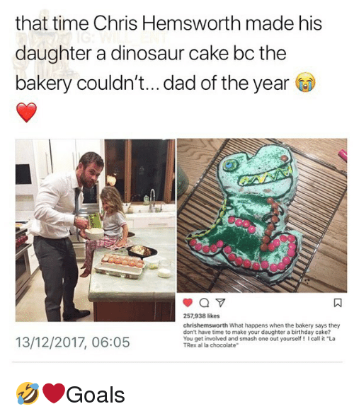 """Birthday, Chris Hemsworth, and Dad: that time Chris Hemsworth made his  daughter a dinosaur cake bc the  bakery couldn't... dad of the year  257,938 likes  chrishemsworth What happens when the bakery says they  don't have time to make your daughter a birthday cake?  You get involved and smash one out yourself! I call it """"La  TRex al la chocolate""""  13/12/2017, 06:05 🤣❤️Goals"""