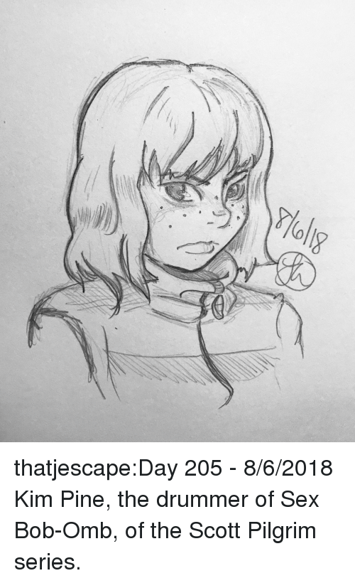 Sex, Target, and Tumblr: thatjescape:Day 205 - 8/6/2018 Kim Pine, the drummer of Sex Bob-Omb, of the Scott Pilgrim series.