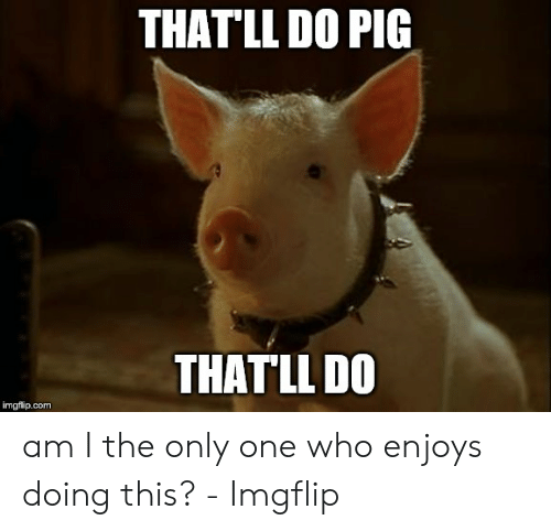 Only One, Am I the Only One, and Com: THAT'LL DO PIG  THAT'LL D0  imgfilip.com am I the only one who enjoys doing this? - Imgflip