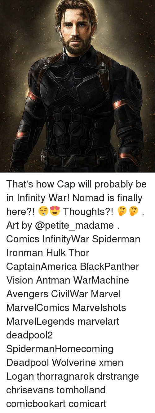 Memes, Wolverine, and Deadpool: That's how Cap will probably be in Infinity War! Nomad is finally here?! 🤤😍 Thoughts?! 🤔🤔 . Art by @petite_madame . Comics InfinityWar Spiderman Ironman Hulk Thor CaptainAmerica BlackPanther Vision Antman WarMachine Avengers CivilWar Marvel MarvelComics Marvelshots MarvelLegends marvelart deadpool2 SpidermanHomecoming Deadpool Wolverine xmen Logan thorragnarok drstrange chrisevans tomholland comicbookart comicart