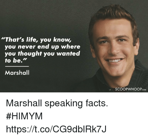 """Facts, Life, and Memes: """"That's life, you know,  you never end up where  you thought you wanted  to be.""""  Marshal  SCOOPWHOOPcoM Marshall speaking facts. #HIMYM https://t.co/CG9dblRk7J"""