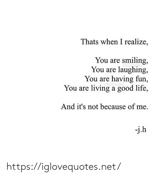 Life, Good, and Living: Thats when I realize,  You are smiling,  You are laughing  You are having fun,  You are living a good life,  And it's not because of me  -j.h https://iglovequotes.net/