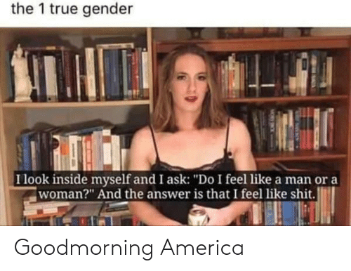"America, Shit, and True: the 1 true gender  I look inside myself and I ask: ""Do I feel like a man or a  woman?"" And the answer is that I feel like shit. Goodmorning America"