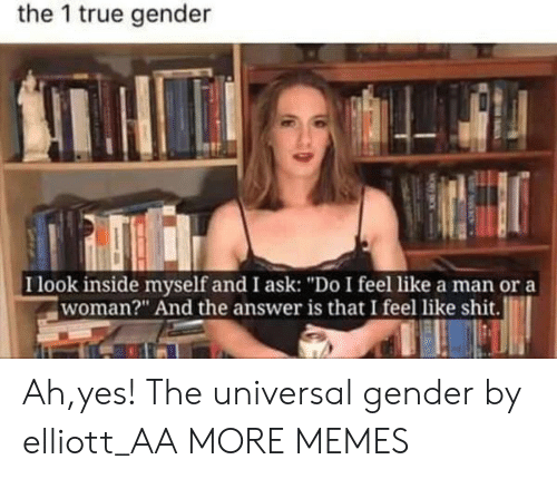 """Dank, Memes, and Shit: the 1 true gender  I look inside myself and I ask: """"Do I feel like a man or a  woman?"""" And the answer is that I feel like shit. Ah,yes! The universal gender by elliott_AA MORE MEMES"""