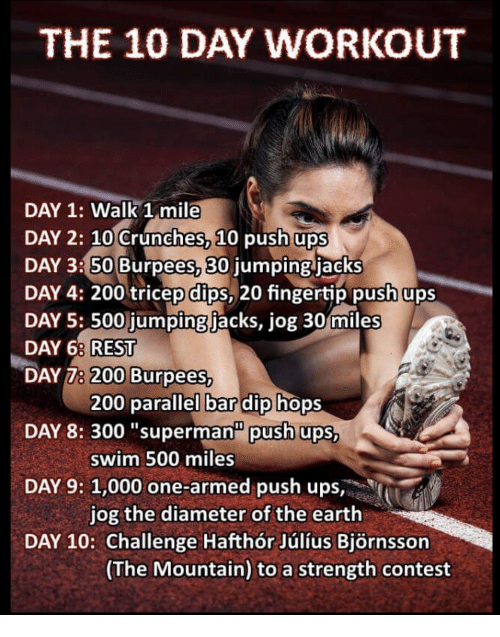 The 10 Day Workout Day 1 Walk 1 Mile Day 2 10 Crunches 10 Push Ups