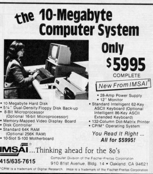 The 10-Megabyte Computer System Only $5995 COMPLETE New From