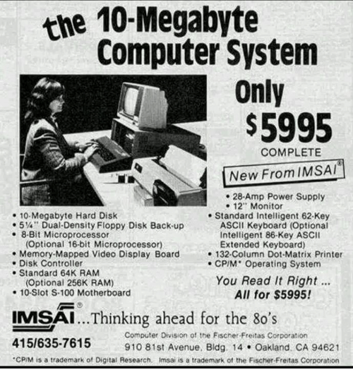 The 10 Megabyte Computer System Only COMPLETE New From IMSAI