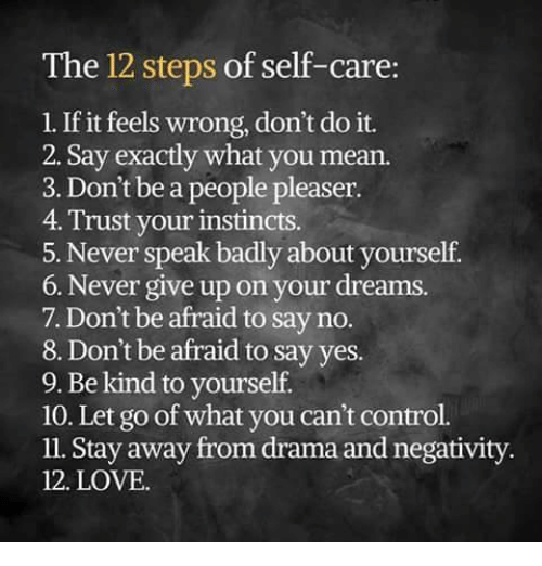 Memes, Instinctive, and Being Kind: The 12 steps of self-care  1. If it feels wrong, don't do it.  2. Say exactly what you mean.  3. Don't be a people pleaser.  4. Trust your instincts.  5. Never speak badly about yourself  6. Never give up on your dreams.  7. Don't be afraid to say no.  8. Don't be afraid to say yes.  9. Be kind to yourself.  10. Let go of what you can't control.  ll. Stay away from drama and negativity.  12. LOVE.