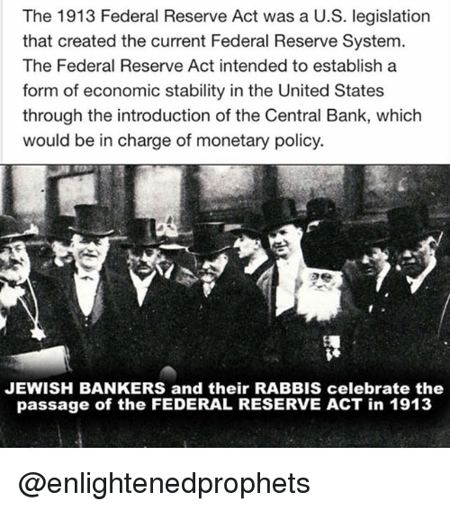 The 1913 Federal Reserve Act Was a US Legislation That Created the Current  Federal Reserve System the Federal Reserve Act Intended to Establish a Form  of Economic Stability in the United States