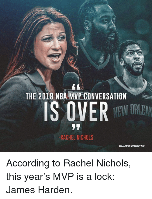 James Harden, Nba, and According: THE 2018 NBA MVP CONVERSATION  ZATARAİ  IS OVE TO  -RACHEL NICHOLS  CLUTCHPOINTS According to Rachel Nichols, this year's MVP is a lock: James Harden.