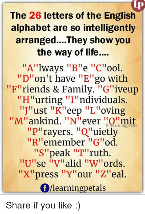 The 26 Letters of the English Alphabet Are So Intelligently Arranged