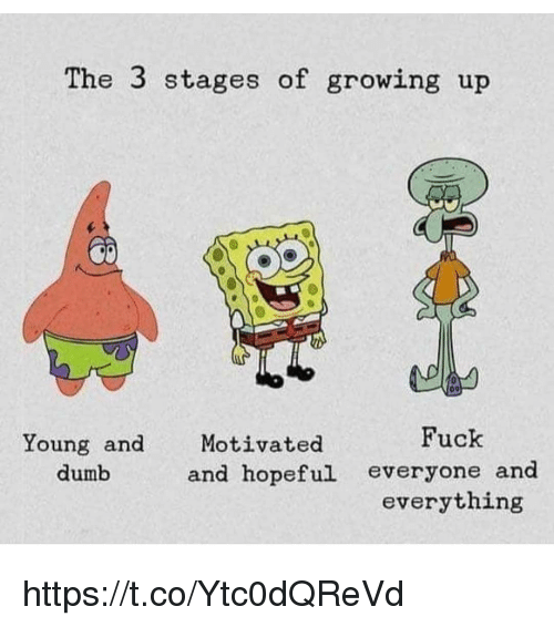 Dumb, Growing Up, and Memes: The 3 stages of growing up  Fuck  Young and  dumb  Motivated  and hopeful everyone and  everything https://t.co/Ytc0dQReVd