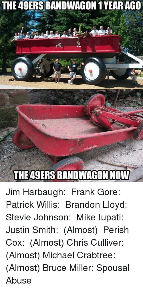 San Francisco 49ers, Nfl, and Jim Harbaugh: THE 49ERSBANDWAGON 1YEAR AGO  ONHMEMEL  THE 49ERS BANDWAGONNOW Jim Harbaugh: ✓ Frank Gore: ✓ Patrick Willis: ✓ Brandon Lloyd: ✓ Stevie Johnson: ✓ Mike Iupati: ✓ Justin Smith: ✓ (Almost)  Perish Cox: ✓ (Almost) Chris Culliver: ✓ (Almost) Michael Crabtree: ✓ (Almost) Bruce Miller: Spousal Abuse