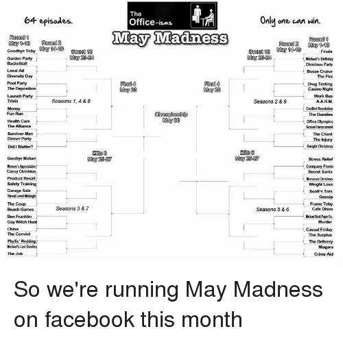 The 64 Episodes Office-Isms May 1Madiness Oun May 1-13 Round 2 May ...