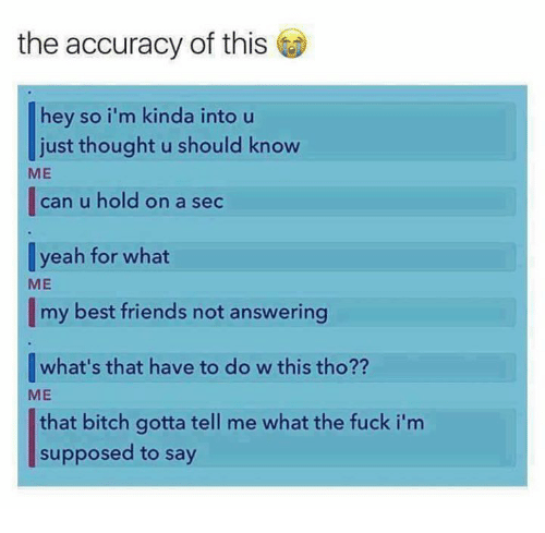Bitch, Friends, and Memes: the accuracy of this  hey so i'm kinda into u  just thought u should know  ME  |can u hold on a sec  yeah for what  ME  my best friends not answering  what's that have to do w this tho??  ME  that bitch gotta tell me what the fuck i'm  supposed to say