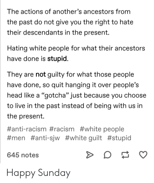 """Head, Racism, and Tumblr: The actions of another's ancestors from  the past do not give you the right to hate  their descendants in the present.  Hating white people for what their ancestors  have done is stupid.  They are not guilty for what those people  have done, so quit hanging it over people's  head like a """"gotcha"""" just because you choose  to live in the past instead of being with us in  the present  #anti-racism #racism #white people  #men #anti -sjw #white guilt #stupid  645 notes Happy Sunday"""