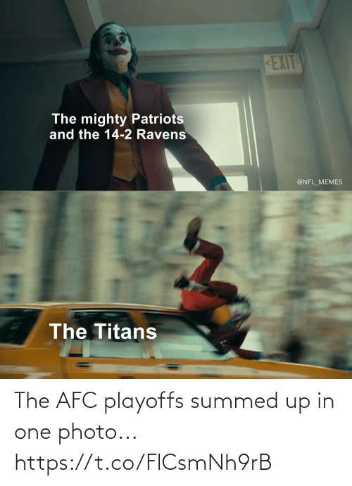 Football, Nfl, and Sports: The AFC playoffs summed up in one photo... https://t.co/FlCsmNh9rB