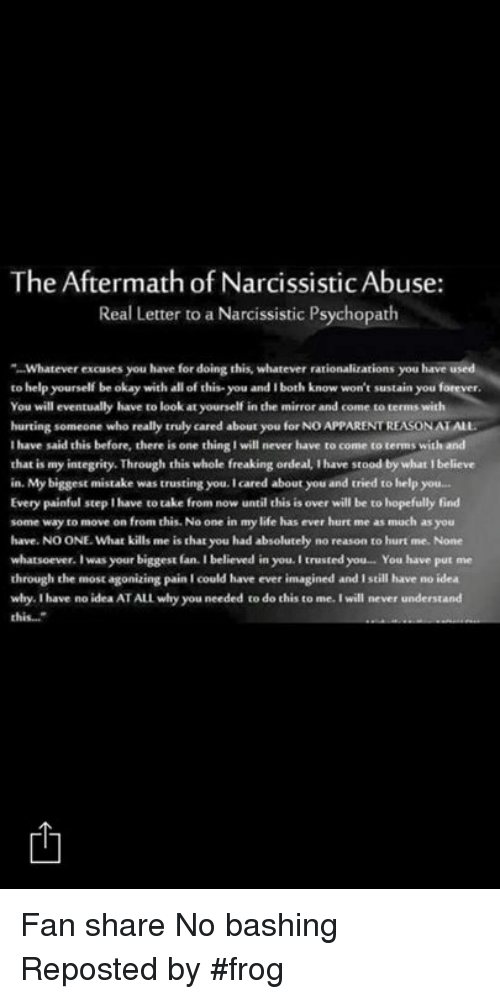 The Aftermath of Narcissistic Abuse Real Letter to a Narcissistic