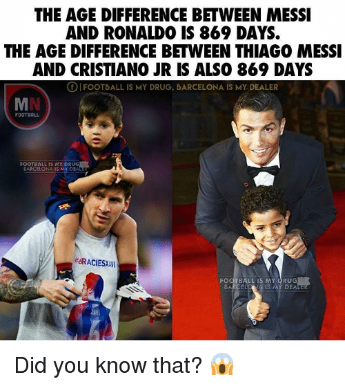 ronaldo messi age difference in a relationship