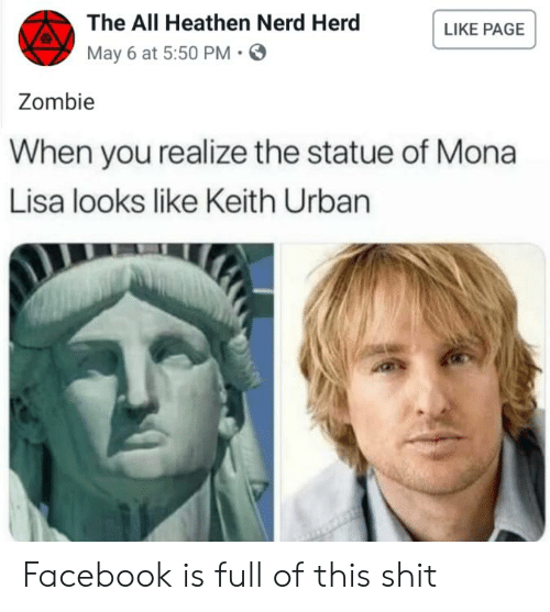 Facebook, Nerd, and Shit: The All Heathen Nerd Herd  May 6 at 5:50 PM.  LIKE PAGE  Zombie  When you realize the statue of Mona  Lisa looks like Keith Urban Facebook is full of this shit