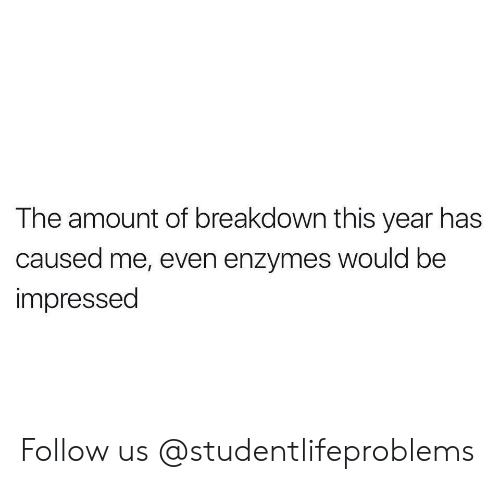 Tumblr, Http, and Com: The amount of breakdown this year has  caused me, even enzymes would be  impressed Follow us @studentlifeproblems