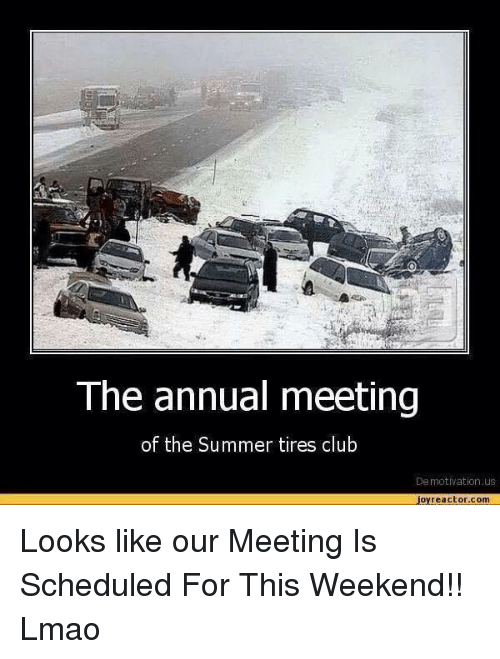 The Annual Meeting Of The Summer Tires Club Demotivation Us Joy