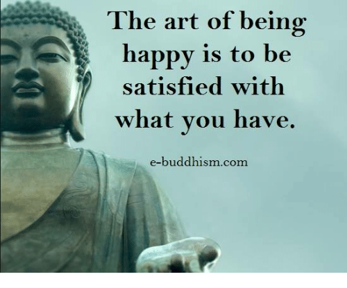 Memes, Happy, and Buddhism: The art of being  happy is to be  satisfied with  what you have  e-buddhism com