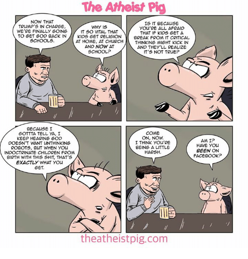 Children, Church, and Facebook: The Atheist Pig  NOW THAT  IS IT BECAUSE  TRUMP'S IN CHARGE,  WHY IS  YOU'RE ALL AFRAID  WE'RE FINALLY GOING  IT SO VITAL THAT  THAT IF KIDS GET A  TO GET GOD BACK IN  KIDS GET RELIGION  BREAK FROM IT CRITICAL  SCHOOLS  AT HOME, AT CHURCH  THINKING MIGHT KICK IN  AND NOW AT  AND THEY'LL REALIZE  SCHOOL?  IT'S NOT TRUE?  BECAUSE I  GOTTTA TELL YA, I  COME  ON, NOW.  KEEP HEARING GOD  AMI?  I THINK YOU'RE  DOESN'T WANT UNTHINKING  HAVE YOU  BEING A LITTLE  ROBOTS, BUT WHEN YOU  BEEN ON  HARSH.  INDOCTRINATE CHILDREN FROM  FACEBOOK?  BIRTH WITH THIS SHIT, THAT'S  EXACTLY WHAT YOU  GET.  theatheistpig.com