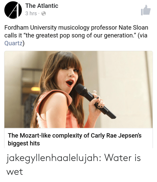 "Pop, Target, and Tumblr: The Atlantic  3 hrs  Fordham University musicology professor Nate Sloan  calls it ""the greatest pop song of our generation."" (via  Quartz)  The Mozart-like complexity of Carly Rae Jepsen's  biggest hits jakegyllenhaalelujah: Water is wet"