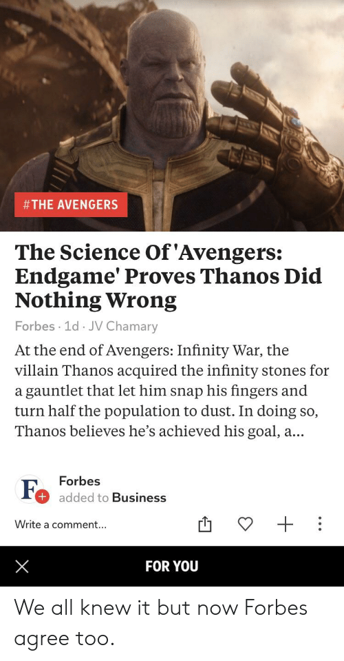 The Avengers The Science Of Avengers Endgame Proves Thanos Did