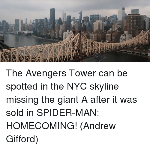 the avengers tower can be spotted in the nyc skyline missing the