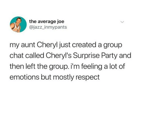 Group Chat, Party, and Respect: the average joe  @jazz_inmypants  my aunt Cheryl just created a group  chat called Cheryl's Surprise Party and  then left the group. i'm feeling a lot of  emotions but mostly respect Meirl