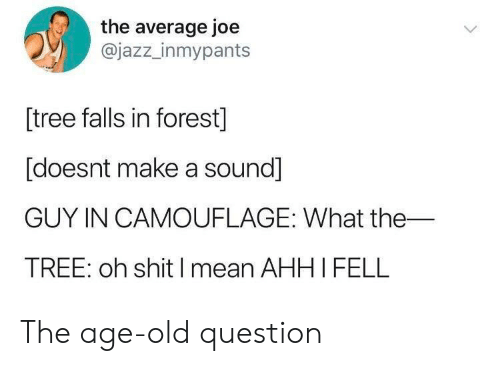 Mean, Tree, and Old: the average joe  @jazz_inmypants  [tree falls in forest]  [doesnt make a sound]  GUY IN CAMOUFLAGE: What the  TREE: oh shitI mean AHHI FELL The age-old question